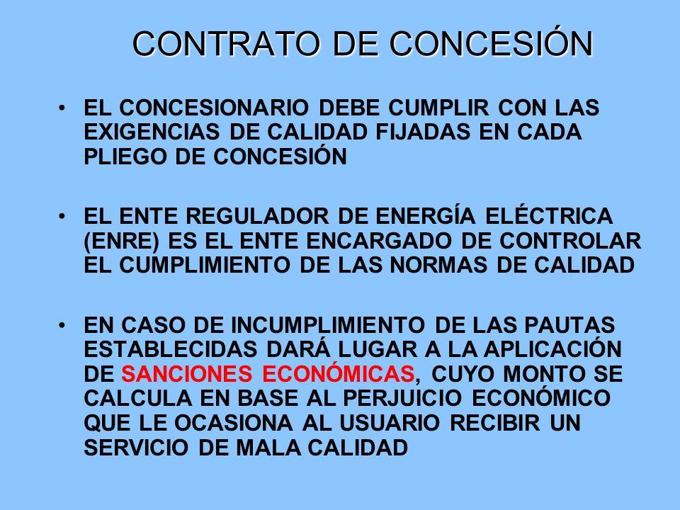 CONTRATO DE CONCESIÓN EL CONCESIONARIO DEBE CUMPLIR CON LAS EXIGENCIAS DE CALIDAD FIJADAS EN CADA PLIEGO DE CONCESIÓN EL ENTE REGULADOR DE ENERGÍA ELÉ