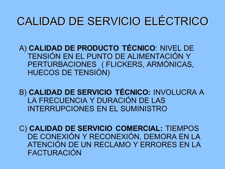 CALIDAD DE SERVICIO ELÉCTRICO A) CALIDAD DE PRODUCTO TÉCNICO: NIVEL DE TENSIÓN EN EL PUNTO DE ALIMENTACIÓN Y PERTURBACIONES ( FLICKERS, ARMÓNICAS, HUE