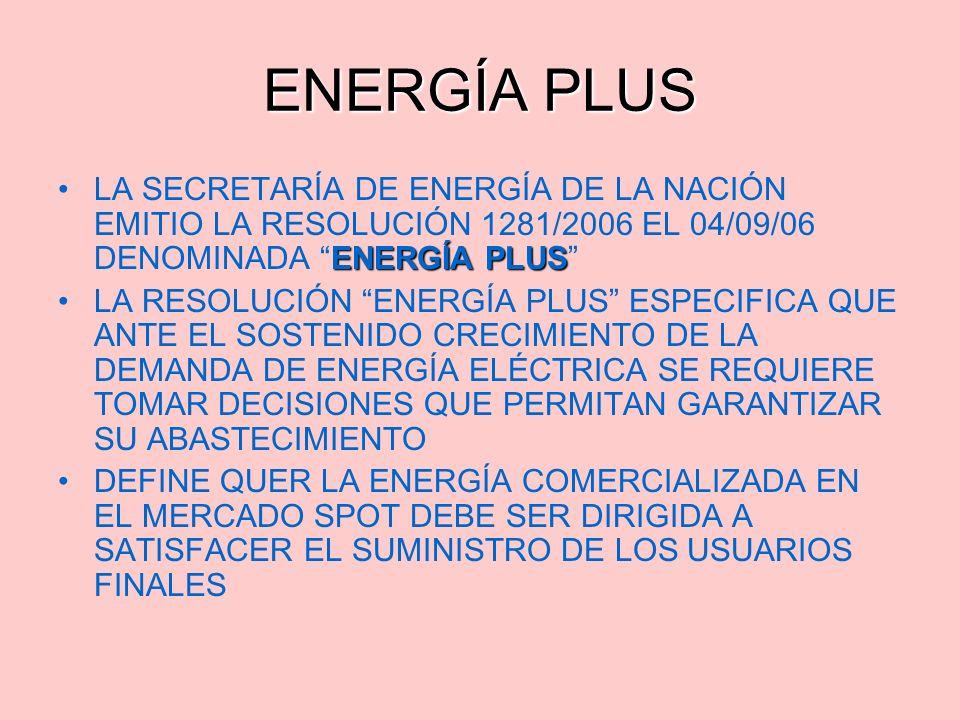 ENERGÍA PLUSLA SECRETARÍA DE ENERGÍA DE LA NACIÓN EMITIO LA RESOLUCIÓN 1281/2006 EL 04/09/06 DENOMINADA ENERGÍA PLUS LA RESOLUCIÓN ENERGÍA PLUS ESPECI