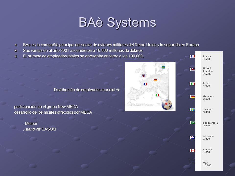 BAè Systems BAe es la compañía principal del sector de aviones militares del Reino Unido y la segunda en Europa Sus ventas en al año 2001 ascendieron