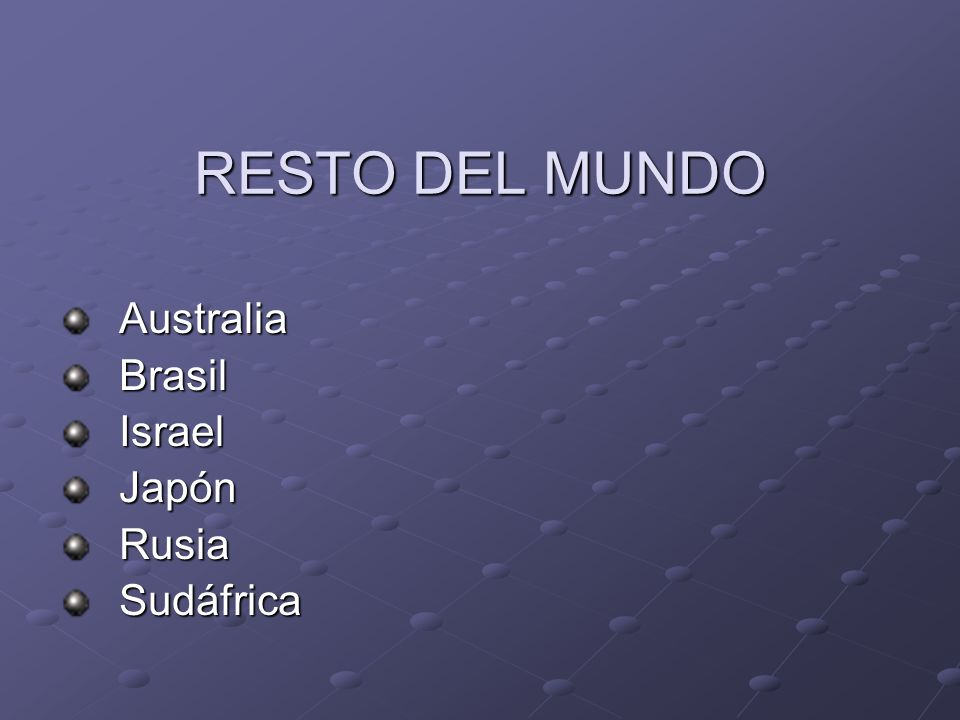 RESTO DEL MUNDO Australia Australia Brasil Brasil Israel Israel Japón Japón Rusia Rusia Sudáfrica Sudáfrica