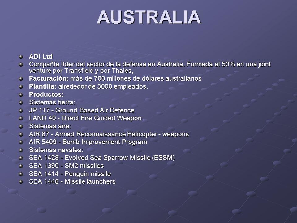AUSTRALIA ADI Ltd Compañía líder del sector de la defensa en Australia. Formada al 50% en una joint venture por Transfield y por Thales, Facturación:
