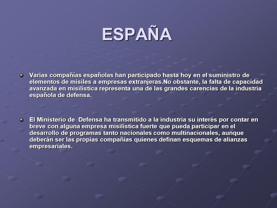 ESPAÑA Varias compañías españolas han participado hasta hoy en el suministro de elementos de misiles a empresas extranjeras.No obstante, la falta de c
