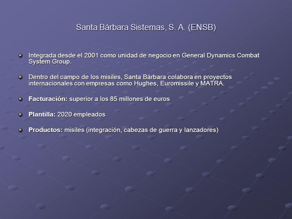 Santa Bárbara Sistemas, S. A. (ENSB) Integrada desde el 2001 como unidad de negocio en General Dynamics Combat System Group. Dentro del campo de los m