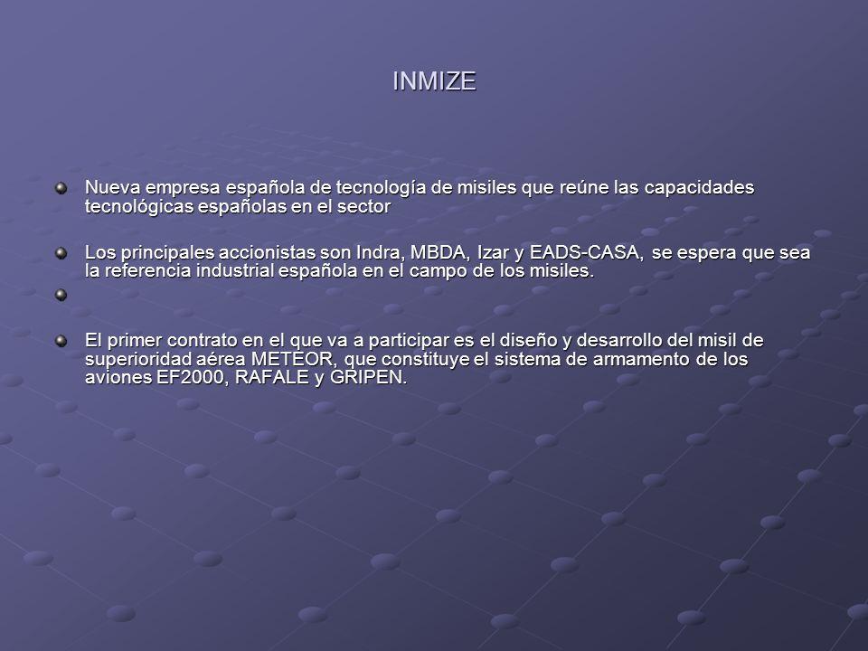 INMIZE Nueva empresa española de tecnología de misiles que reúne las capacidades tecnológicas españolas en el sector Los principales accionistas son I