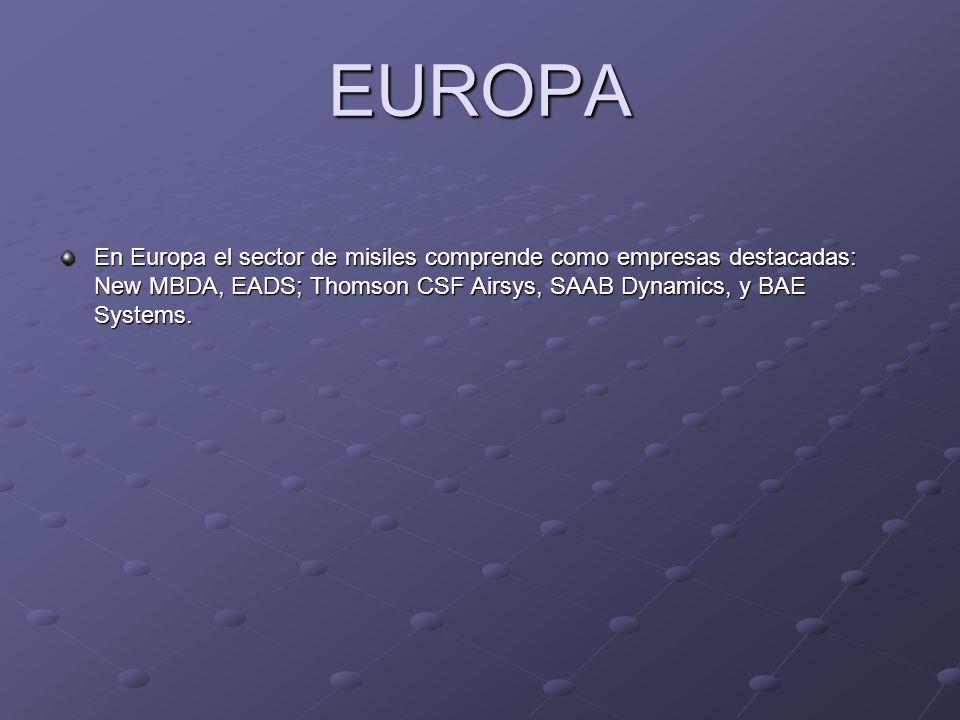 EUROPA En Europa el sector de misiles comprende como empresas destacadas: New MBDA, EADS; Thomson CSF Airsys, SAAB Dynamics, y BAE Systems.