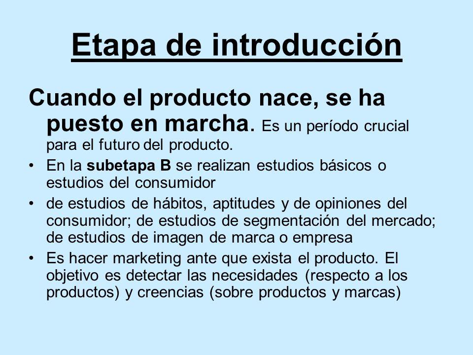 Etapa de introducción Cuando el producto nace, se ha puesto en marcha.