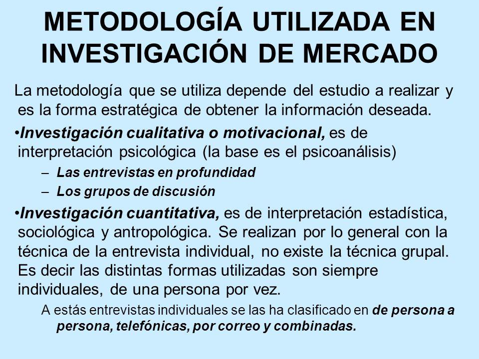 METODOLOGÍA UTILIZADA EN INVESTIGACIÓN DE MERCADO La metodología que se utiliza depende del estudio a realizar y es la forma estratégica de obtener la información deseada.