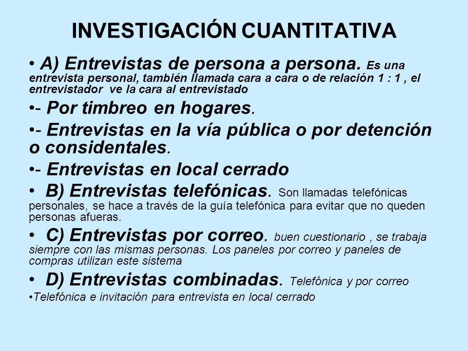 INVESTIGACIÓN CUANTITATIVA A) Entrevistas de persona a persona.