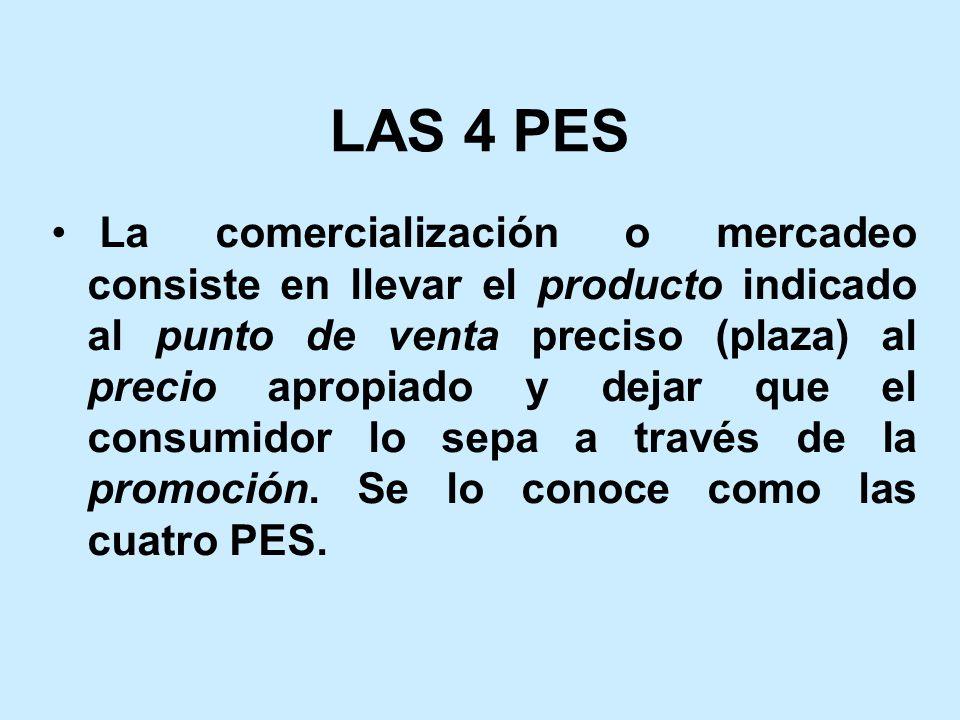LAS 4 PES La comercialización o mercadeo consiste en llevar el producto indicado al punto de venta preciso (plaza) al precio apropiado y dejar que el consumidor lo sepa a través de la promoción.