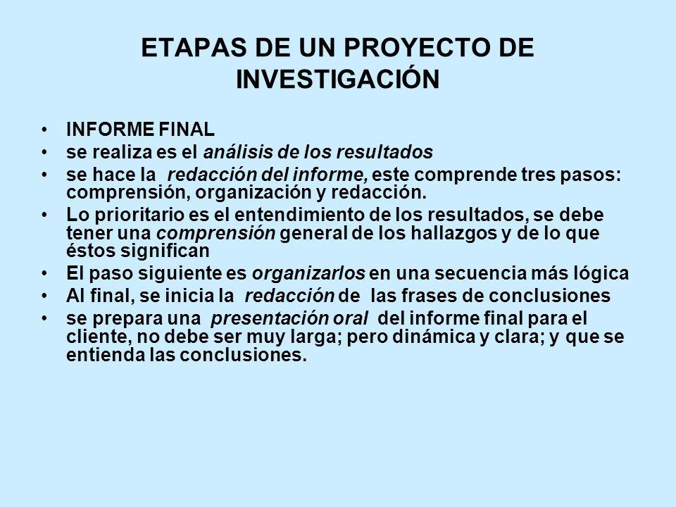 ETAPAS DE UN PROYECTO DE INVESTIGACIÓN INFORME FINAL se realiza es el análisis de los resultados se hace la redacción del informe, este comprende tres pasos: comprensión, organización y redacción.
