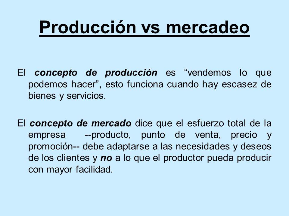 Producción vs mercadeo El concepto de producción es vendemos lo que podemos hacer, esto funciona cuando hay escasez de bienes y servicios.
