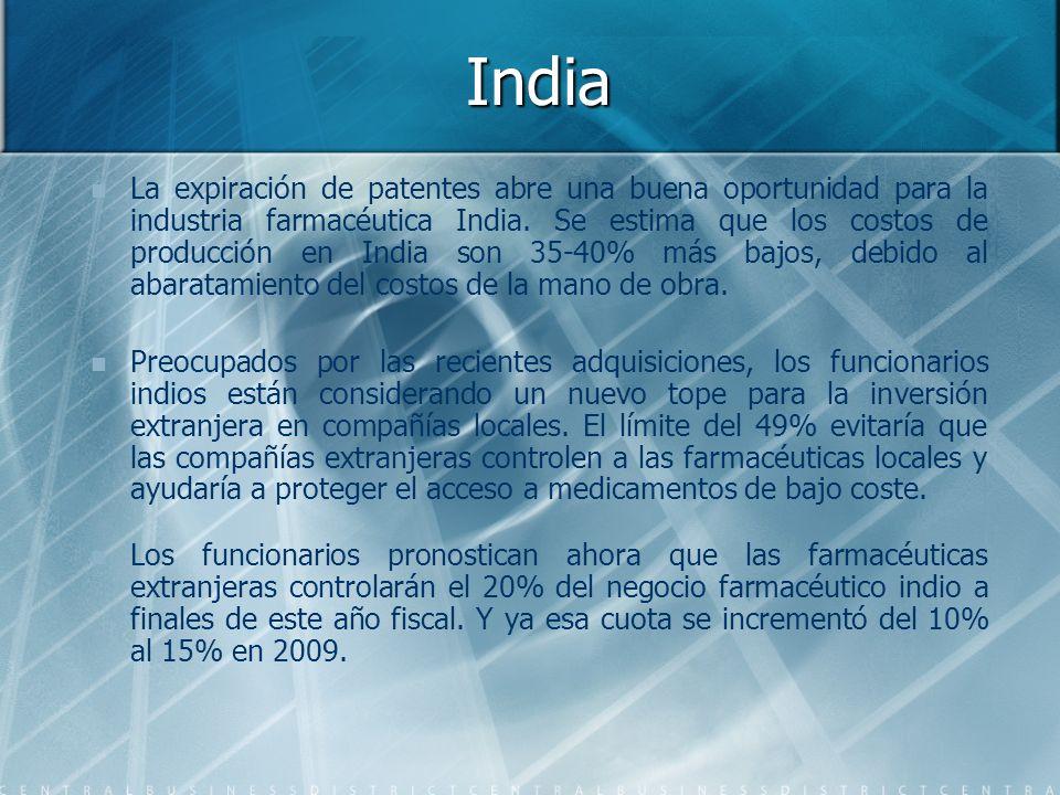India La expiración de patentes abre una buena oportunidad para la industria farmacéutica India. Se estima que los costos de producción en India son 3