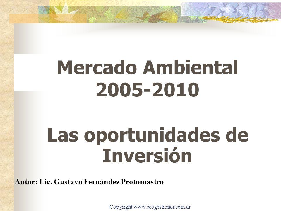 Copyright www.ecogestionar.com.ar Mercado Ambiental 2005-2010 Las oportunidades de Inversión Autor: Lic. Gustavo Fernández Protomastro