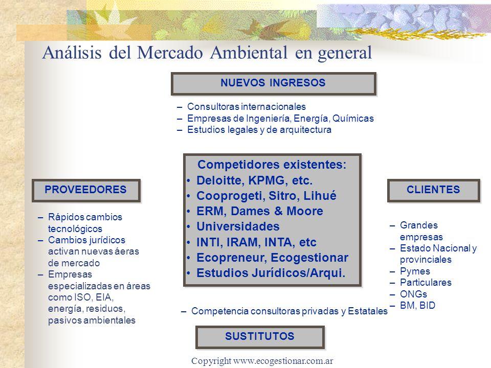 Copyright www.ecogestionar.com.ar Análisis del Mercado Ambiental en general –Grandes empresas –Estado Nacional y provinciales –Pymes –Particulares –ON