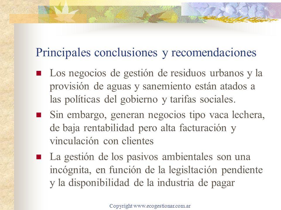Copyright www.ecogestionar.com.ar Principales conclusiones y recomendaciones Los negocios de gestión de residuos urbanos y la provisión de aguas y sanemiento están atados a las políticas del gobierno y tarifas sociales.