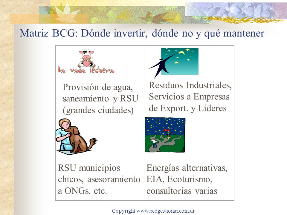 Copyright www.ecogestionar.com.ar Cómo se estructura el Mercado Ambiental Argentino 40,0 %: Gestión de Residuos (tanto urbanos, como asimilables y especiales), incluye tratamiento de pasivos industriales 39,0 %: Ciclo del Agua (Estaciones de Tratamiento de Aguas Potables –ETAP-, Estaciones Depuradoras de Aguas Residuales –EDAR- redes, colectores, canalizaciones, etc.) 8,0 %: Control y prevención de la contaminación 6,0 %: Consultoría e Ingeniería Ambiental y Regeneración de ambientes contaminados 7% restante: Instrumentos de Control, Energías Alternativas y otros.
