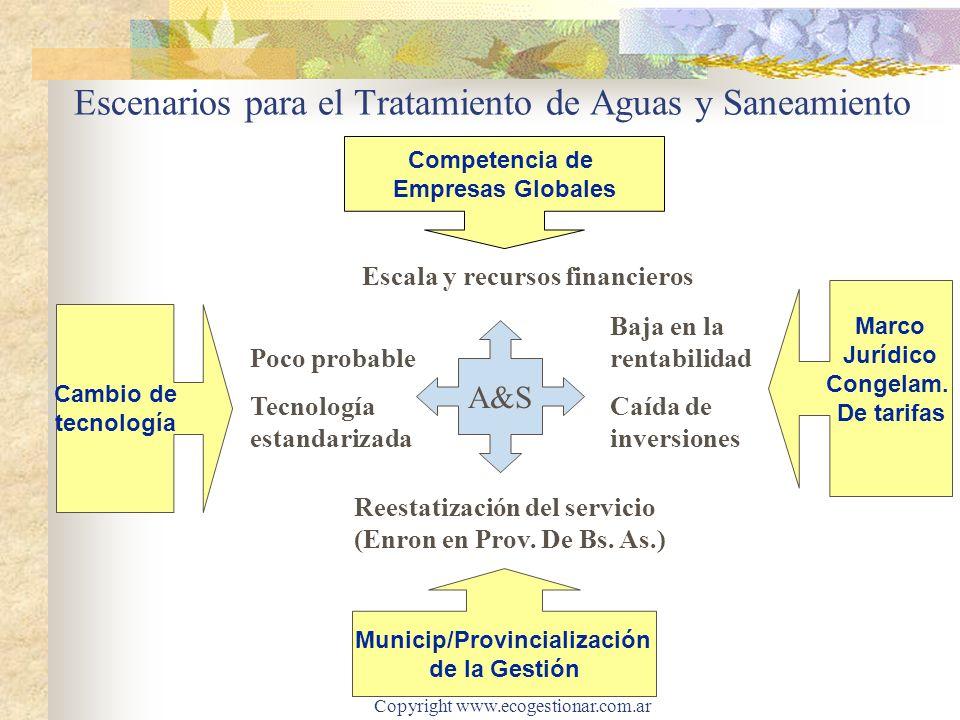 Copyright www.ecogestionar.com.ar Escenarios para el Tratamiento de Aguas y Saneamiento Competencia de Empresas Globales Reestatización del servicio (Enron en Prov.