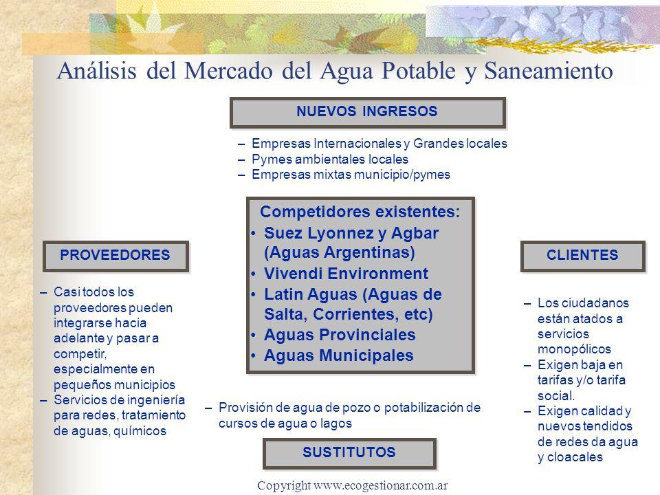 Copyright www.ecogestionar.com.ar Análisis del Mercado del Agua Potable y Saneamiento –Los ciudadanos están atados a servicios monopólicos –Exigen baja en tarifas y/o tarifa social.