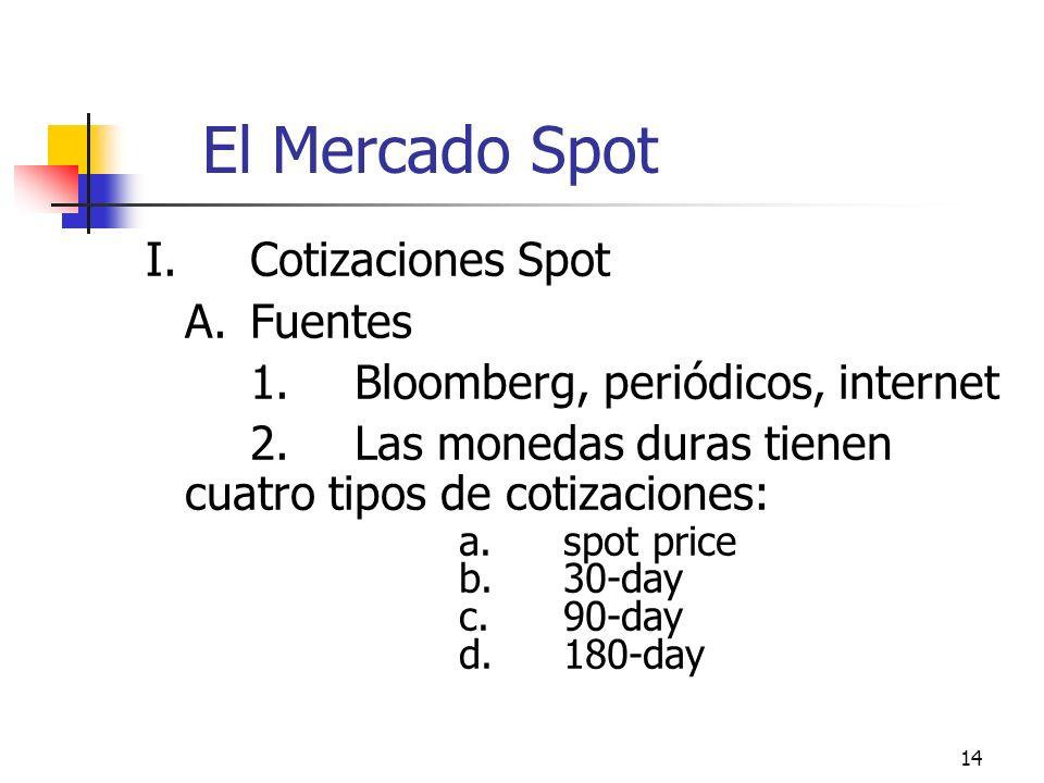 14 El Mercado Spot I.Cotizaciones Spot A.Fuentes 1.Bloomberg, periódicos, internet 2.Las monedas duras tienen cuatro tipos de cotizaciones: a.spot pri