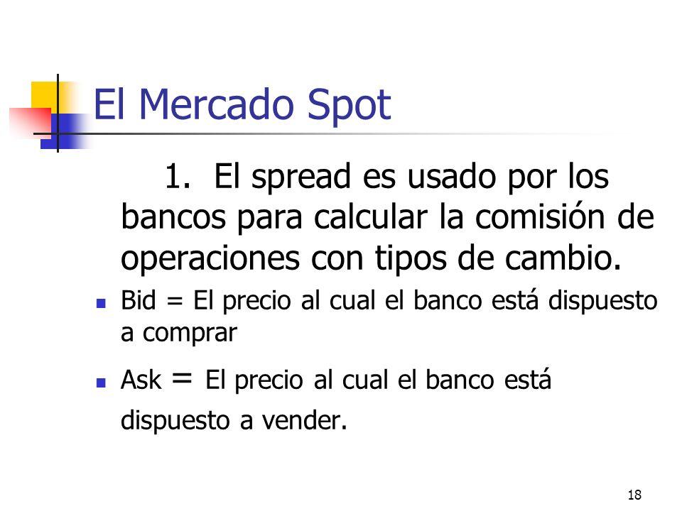 18 El Mercado Spot 1. El spread es usado por los bancos para calcular la comisión de operaciones con tipos de cambio. Bid = El precio al cual el banco