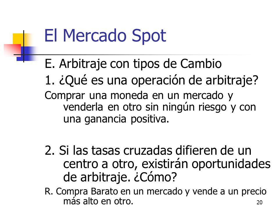 20 El Mercado Spot E. Arbitraje con tipos de Cambio 1. ¿Qué es una operación de arbitraje? Comprar una moneda en un mercado y venderla en otro sin nin