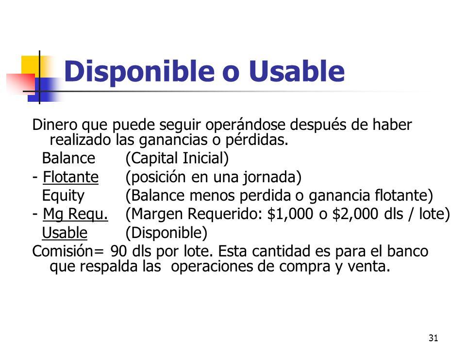 31 Disponible o Usable Dinero que puede seguir operándose después de haber realizado las ganancias o pérdidas. Balance(Capital Inicial) - Flotante (po