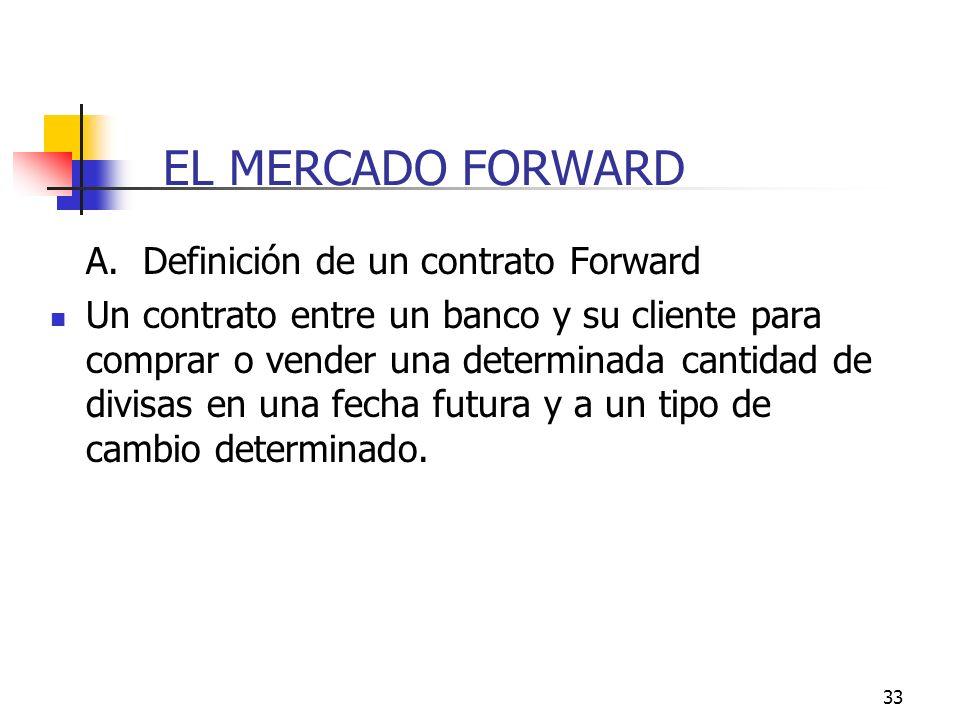 33 EL MERCADO FORWARD A. Definición de un contrato Forward Un contrato entre un banco y su cliente para comprar o vender una determinada cantidad de d