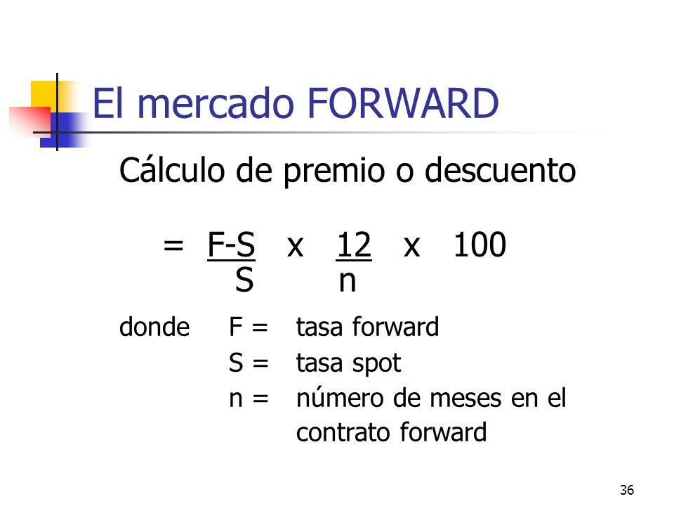 36 El mercado FORWARD Cálculo de premio o descuento = F-S x 12 x 100 S n dondeF = tasa forward S = tasa spot n = número de meses en el contrato forwar