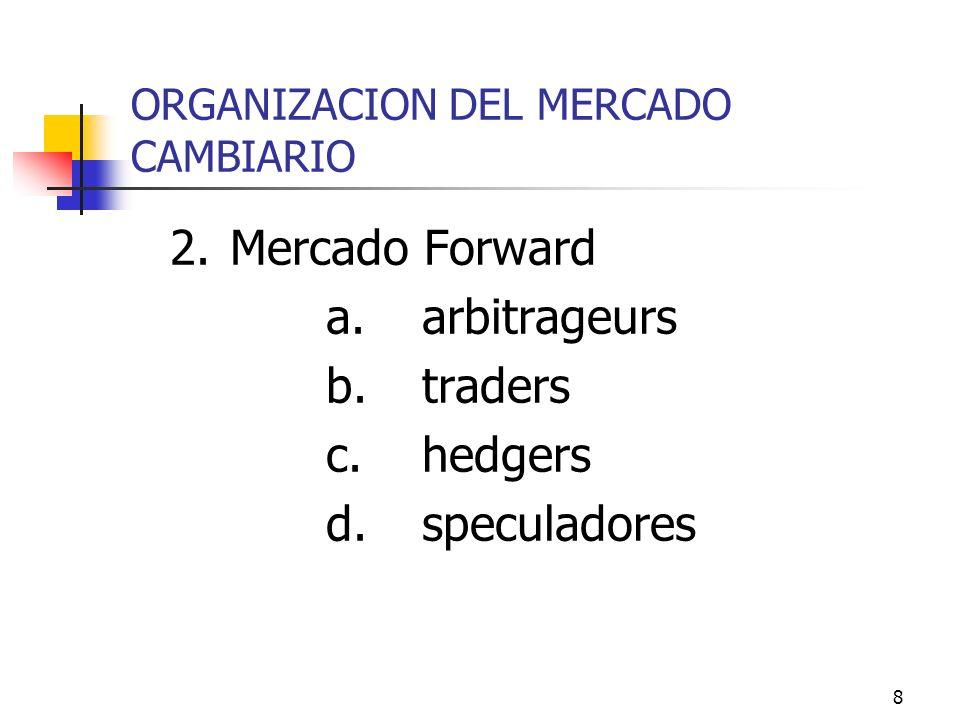8 ORGANIZACION DEL MERCADO CAMBIARIO 2.Mercado Forward a.arbitrageurs b.traders c.hedgers d.speculadores