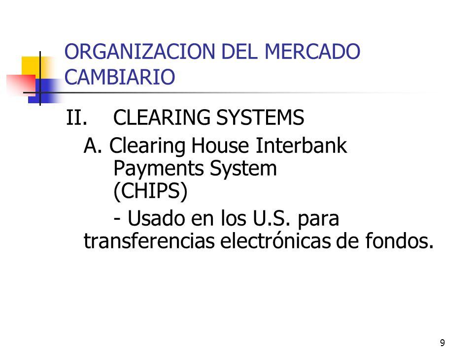 9 ORGANIZACION DEL MERCADO CAMBIARIO II.CLEARING SYSTEMS A. Clearing House Interbank Payments System (CHIPS) - Usado en los U.S. para transferencias e