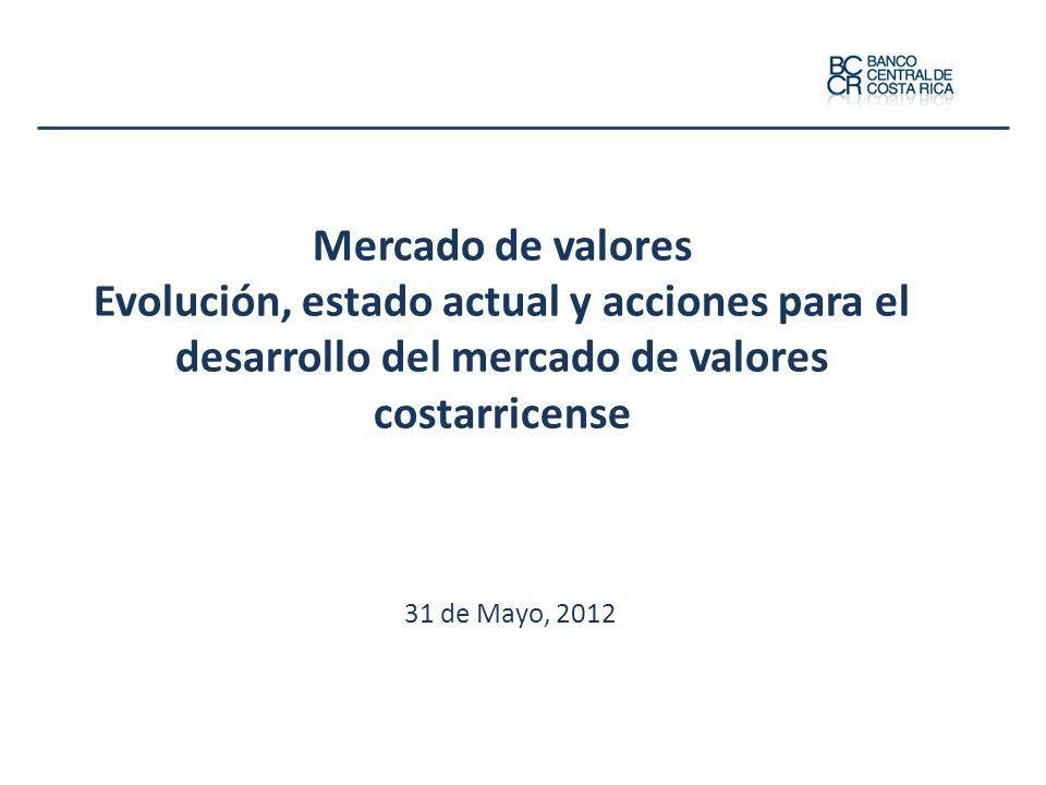 Mercado de valores Evolución, estado actual y acciones para el desarrollo del mercado de valores costarricense 31 de Mayo, 2012