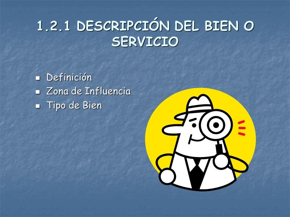 1.2 Partes del Estudio de la Demanda 1.- Descripción del bien o servicio 2.- Análisis del Entorno 3.- Demanda Presente y Pasada 4.- Demanda Futura