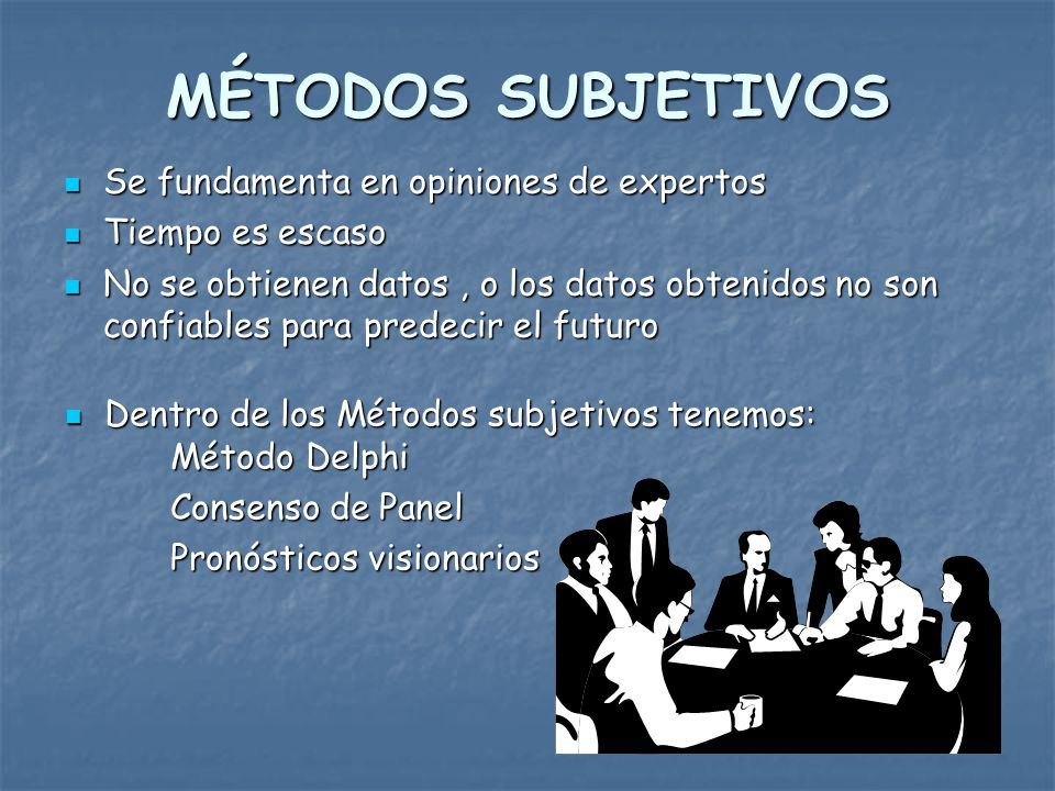 MÉTODOS DE PROYECCIÓN Los métodos más usuales para proyectar el mercado son: Métodos Subjetivos Métodos Subjetivos Métodos de pronósticos causales Métodos de pronósticos causales Método de la serie de tiempo Método de la serie de tiempo