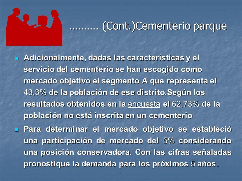 Ejemplo:Cementerio parque Una importante empresa del sector de la construcción ha decidido diversificar su cartera de productos y entregar al mercado, además de viviendas, un cementerio parque.
