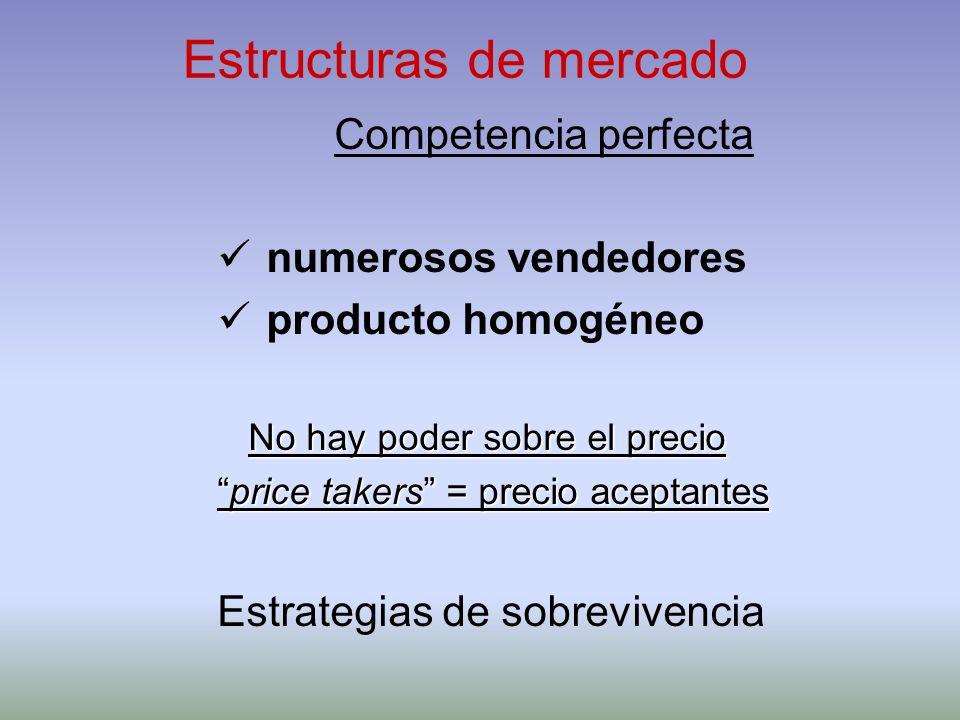 Estructuras de mercado Competencia perfecta numerosos vendedores producto homogéneo No hay poder sobre el precio price takers = precio aceptantesprice