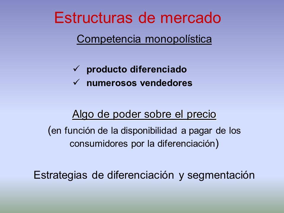 Estructuras de mercado Competencia monopolística producto diferenciado numerosos vendedores Algo de poder sobre el precio ( en función de la disponibi