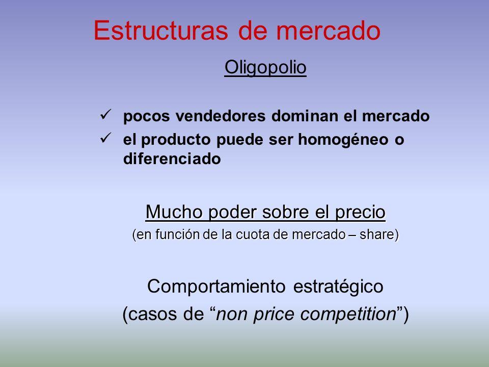 Estructuras de mercado Oligopolio pocos vendedores dominan el mercado el producto puede ser homogéneo o diferenciado Mucho poder sobre el precio (en f