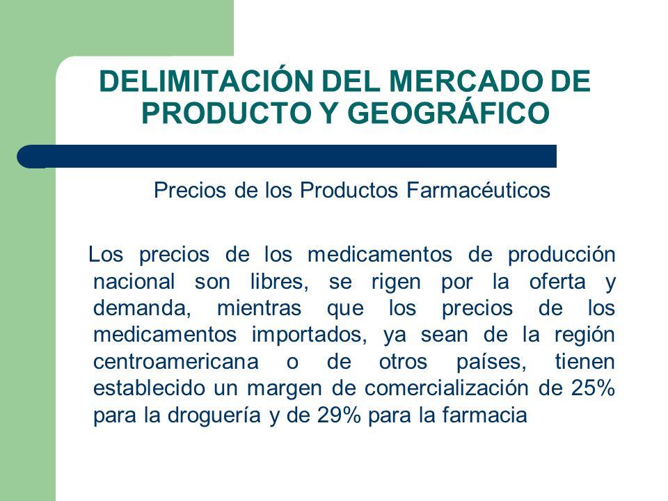 DELIMITACIÓN DEL MERCADO DE PRODUCTO Y GEOGRÁFICO Precios de los Productos Farmacéuticos Los precios de los medicamentos de producción nacional son li