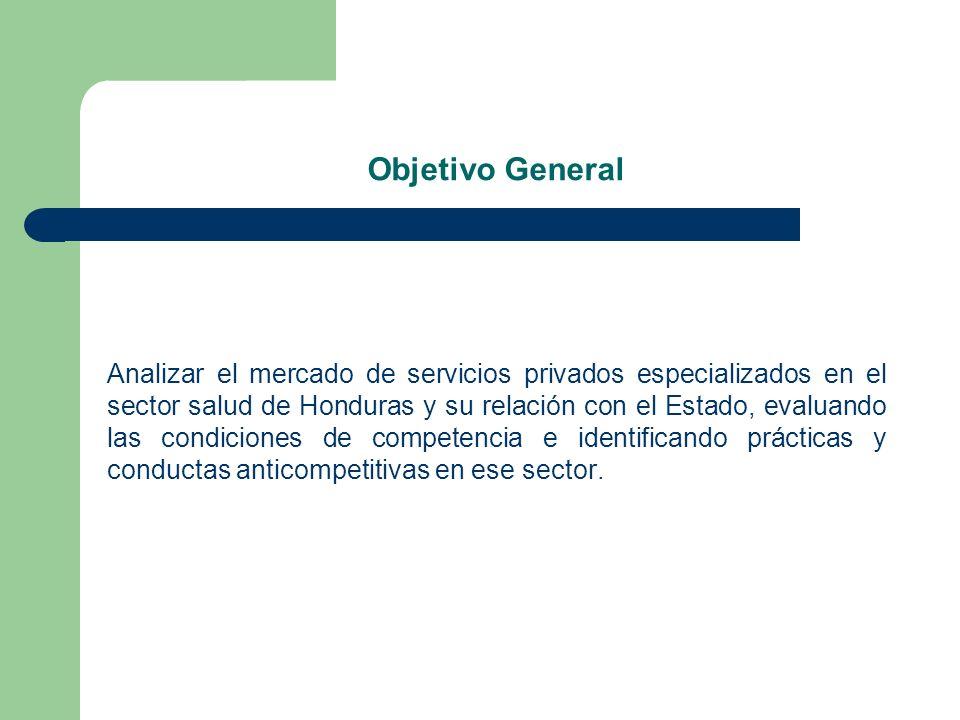 Objetivo General Analizar el mercado de servicios privados especializados en el sector salud de Honduras y su relación con el Estado, evaluando las co