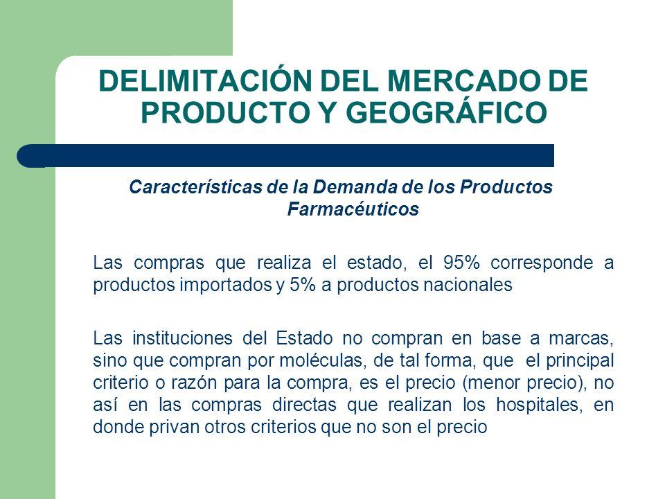 DELIMITACIÓN DEL MERCADO DE PRODUCTO Y GEOGRÁFICO Características de la Demanda de los Productos Farmacéuticos Las compras que realiza el estado, el 9