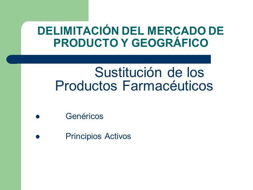 DELIMITACIÓN DEL MERCADO DE PRODUCTO Y GEOGRÁFICO Sustitución de los Productos Farmacéuticos Genéricos Principios Activos