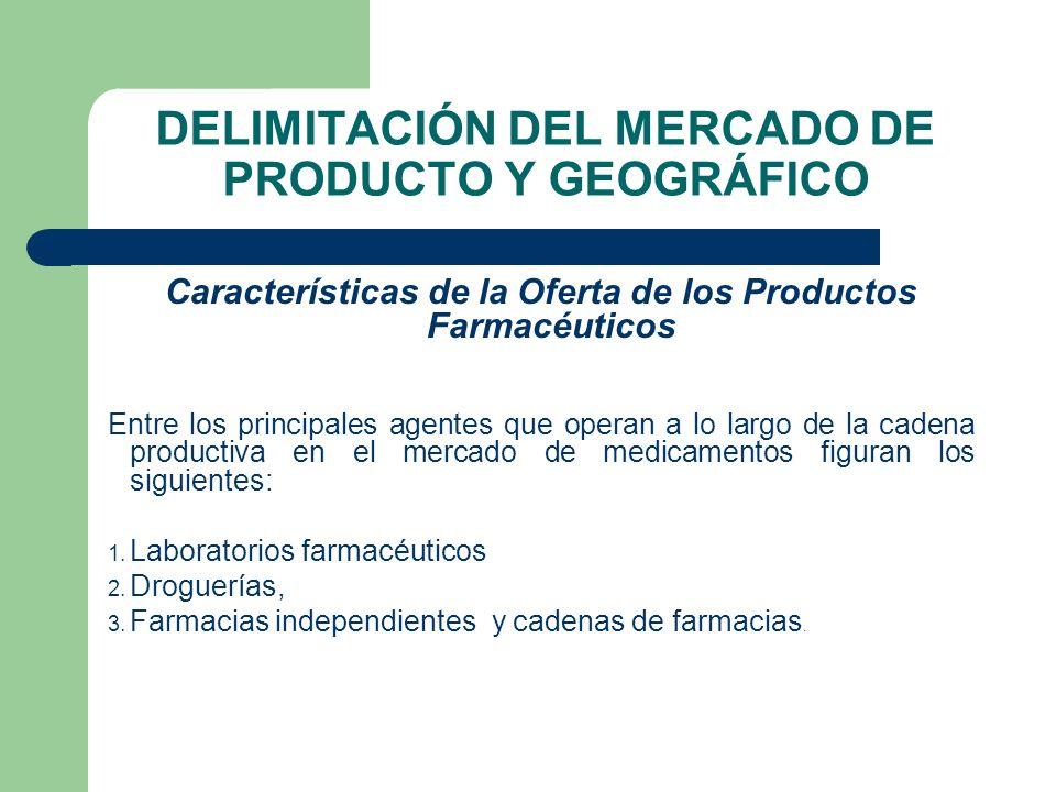 DELIMITACIÓN DEL MERCADO DE PRODUCTO Y GEOGRÁFICO Características de la Oferta de los Productos Farmacéuticos Entre los principales agentes que operan
