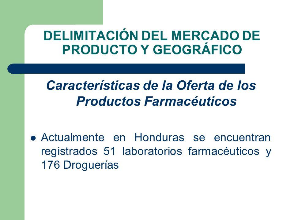 DELIMITACIÓN DEL MERCADO DE PRODUCTO Y GEOGRÁFICO Características de la Oferta de los Productos Farmacéuticos Actualmente en Honduras se encuentran re