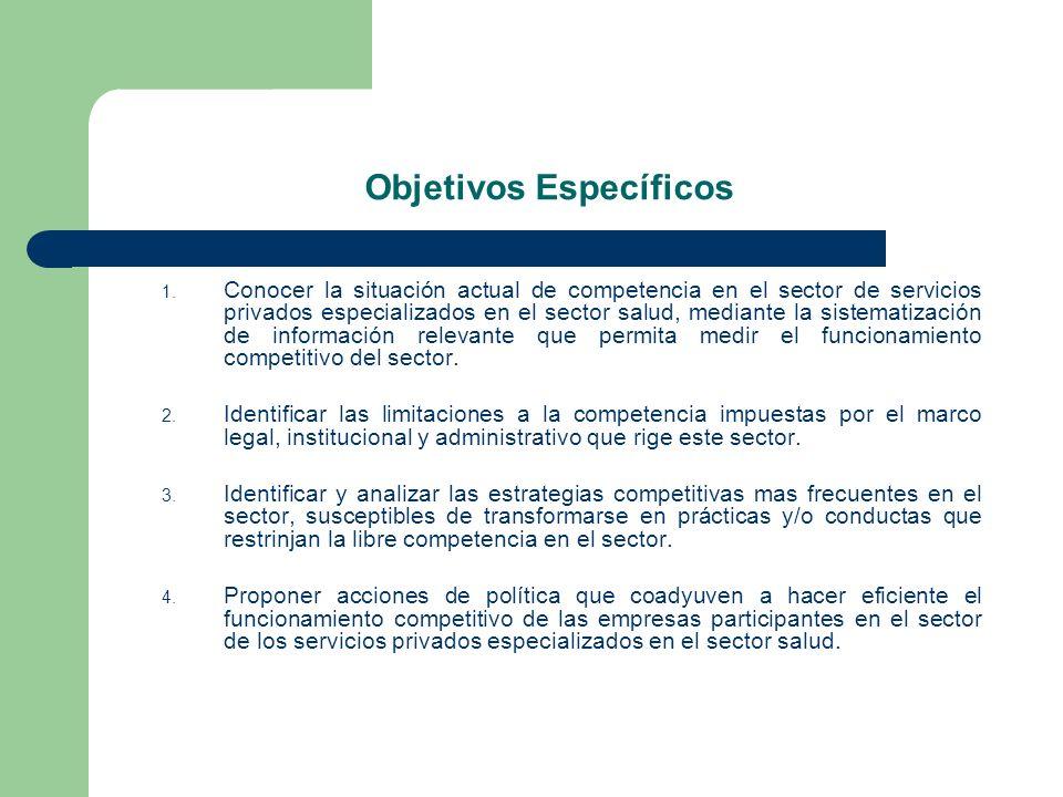 Objetivos Específicos 1. Conocer la situación actual de competencia en el sector de servicios privados especializados en el sector salud, mediante la