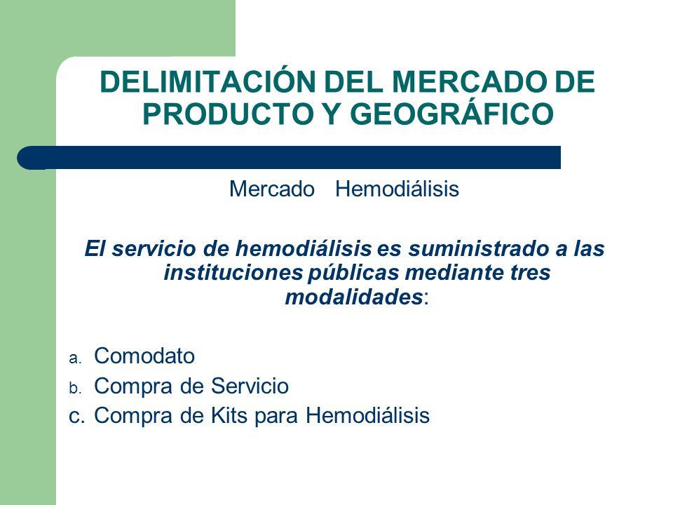 DELIMITACIÓN DEL MERCADO DE PRODUCTO Y GEOGRÁFICO Mercado Hemodiálisis El servicio de hemodiálisis es suministrado a las instituciones públicas median