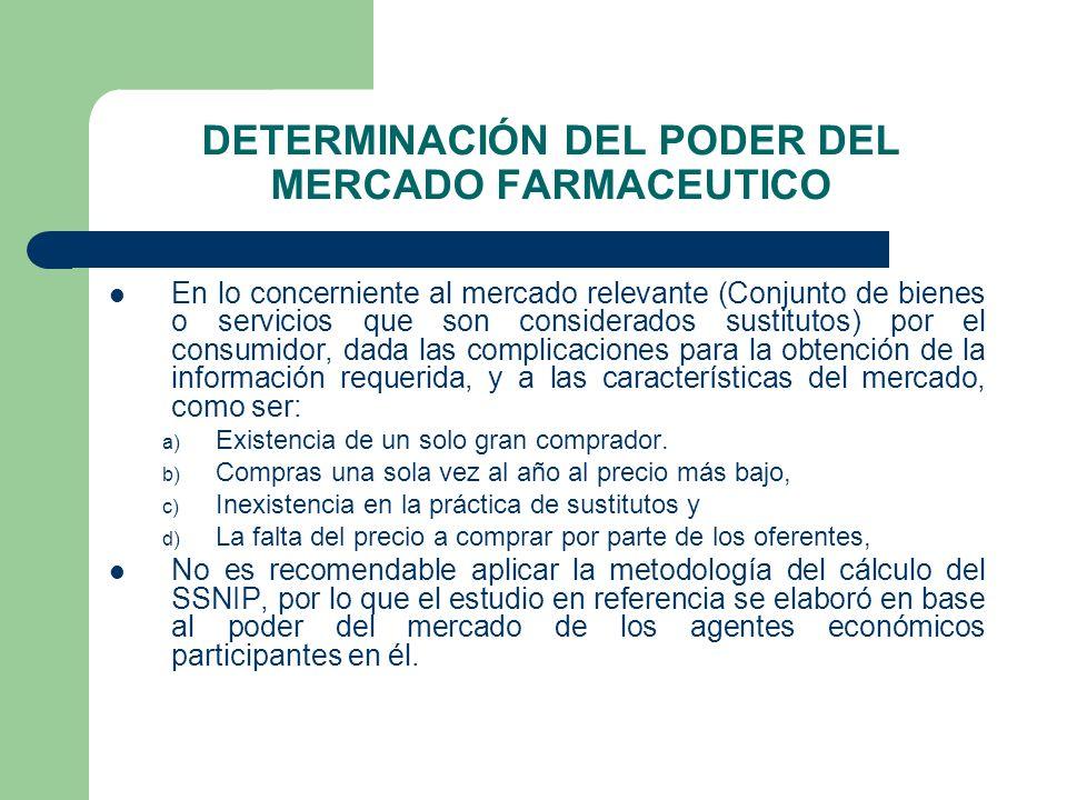 DETERMINACIÓN DEL PODER DEL MERCADO FARMACEUTICO En lo concerniente al mercado relevante (Conjunto de bienes o servicios que son considerados sustitut