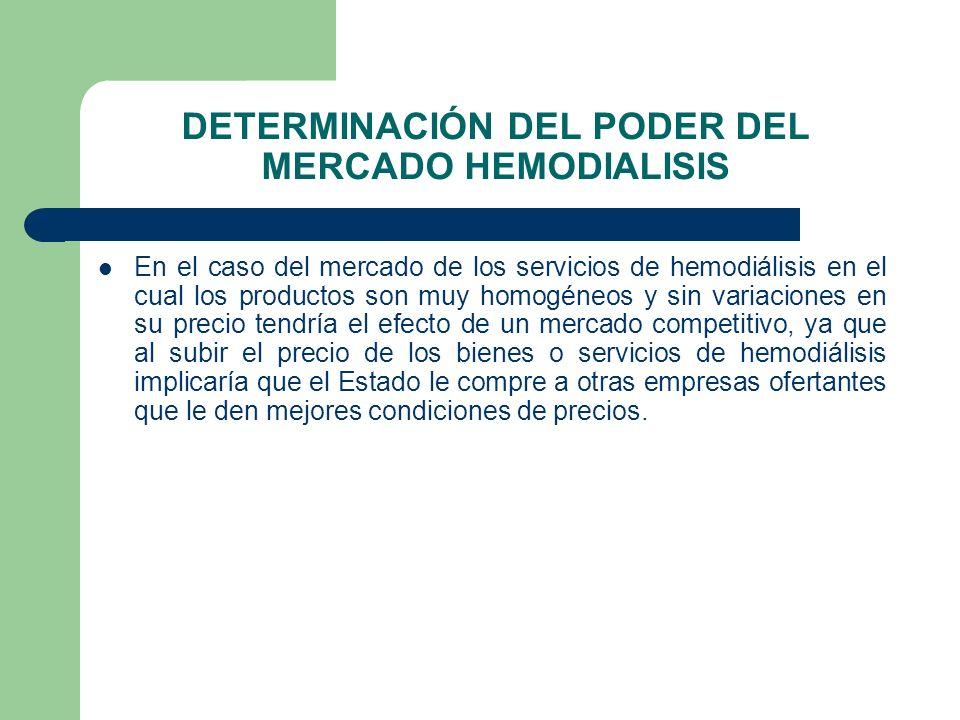 DETERMINACIÓN DEL PODER DEL MERCADO HEMODIALISIS En el caso del mercado de los servicios de hemodiálisis en el cual los productos son muy homogéneos y