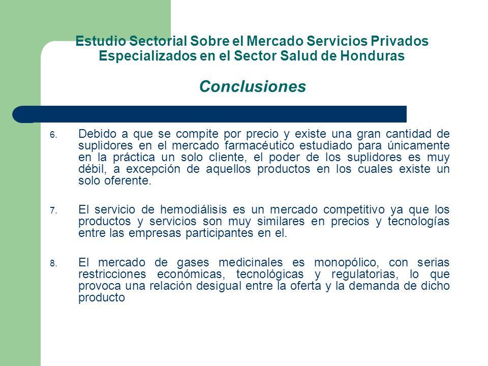 Estudio Sectorial Sobre el Mercado Servicios Privados Especializados en el Sector Salud de Honduras Conclusiones 6. Debido a que se compite por precio