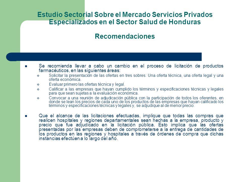 Estudio Sectorial Sobre el Mercado Servicios Privados Especializados en el Sector Salud de Honduras Recomendaciones Se recomienda llevar a cabo un cam